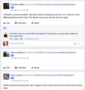 Recent Facebook Reviews at The Briers