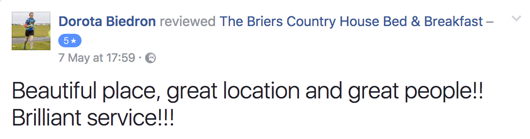 Five Star Facebook Reviews at The Briers