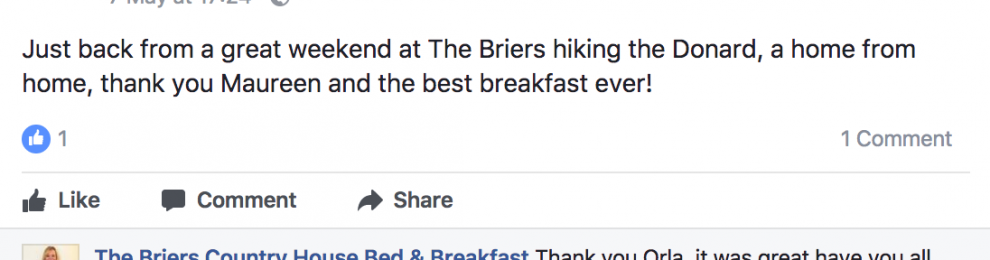 3 more 5 Star Facebook Reviews for The Briers